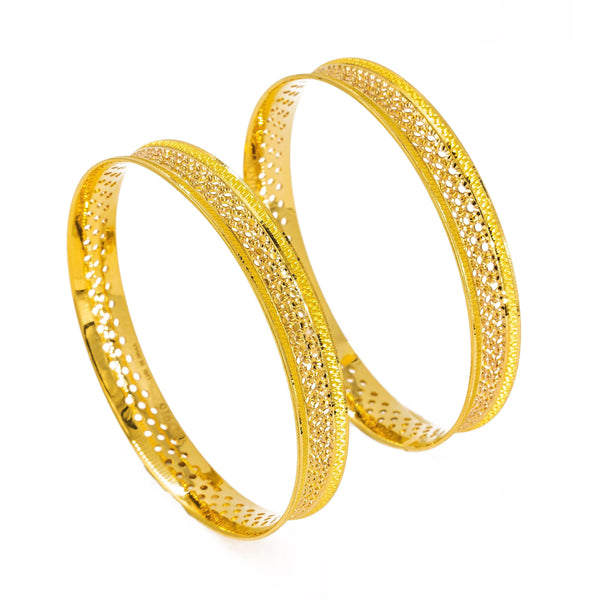 22K Yellow Gold Bangles Set of 2 W/ Fully Spanned Pattern of Small Circle Cutout |  22K Yellow Gold Bangles Set of 2 W/ Fully Spanned Design of Small Circle Cutouts for women. This...