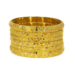 22K Yellow Gold Bangles Set of 6 W/ Detailed Hollow Domed Band, 71.6 gm