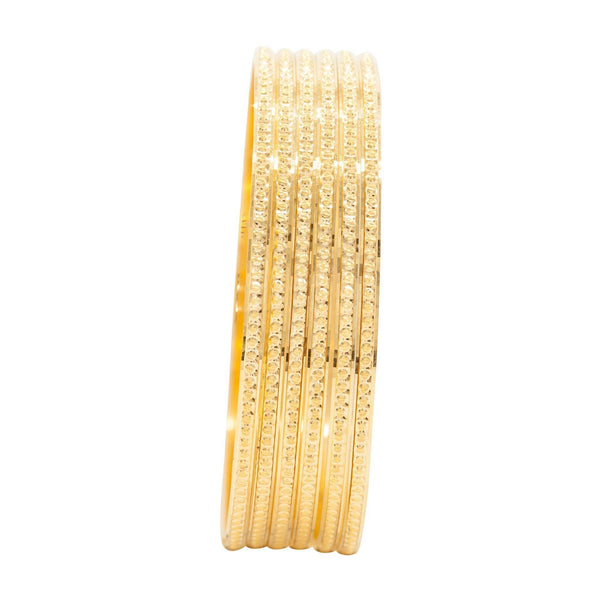 22K Yellow Gold 6 Piece Bangle Set W/ Diamond Cutting | 22K Yellow Gold 6 Piece Bangle Set W/ Diamond Cutting for women. Beautiful six piece bangle set w...