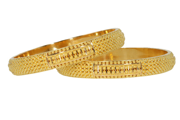 22K Yellow Gold Dotted Pattern Bangles Set of Two | 22K Yellow Gold Dotted Pattern Bangles Set of Two for women. This gorgeous set of dot-work bangle...