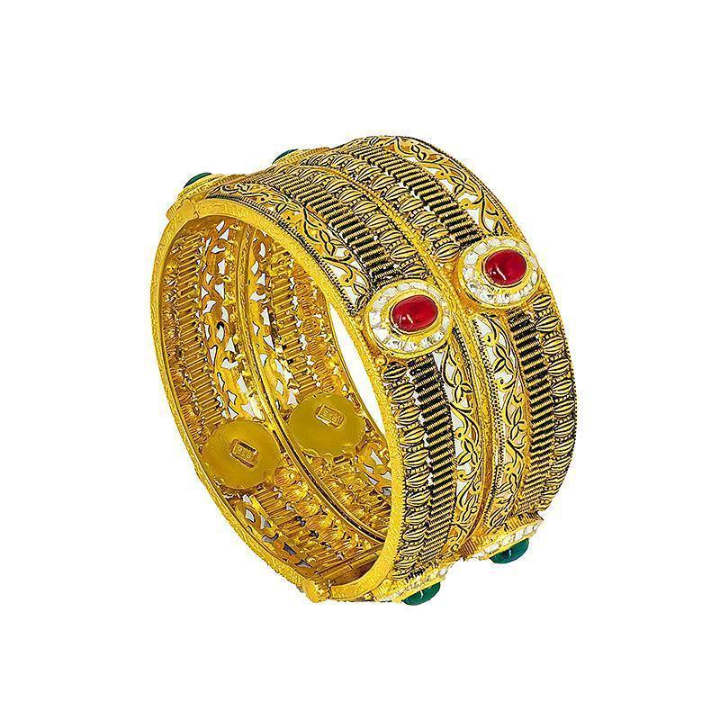 22K yellow Gold antique Bangles set w/ cubic zirconium, ruby, and emerald stones | 22K yellow Gold antique Bangles set w/ cubic zirconium, ruby, and emerald stones for her. Gold we...