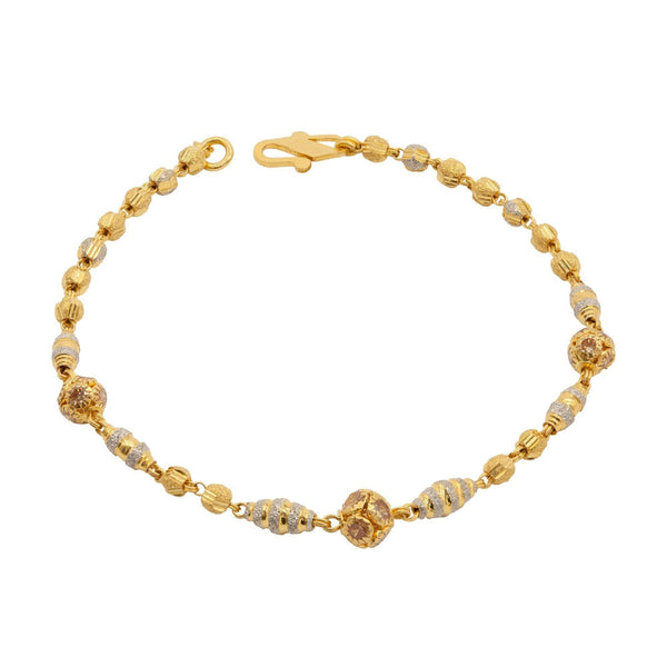 22K Multitone Gold Beaded Bracelet W/ Diamond Cutting & Cubic Zirconia | 22K Multitone Gold Beaded Bracelet W/ Diamond Cutting & Cubic Zirconia for women. Diamond cut...