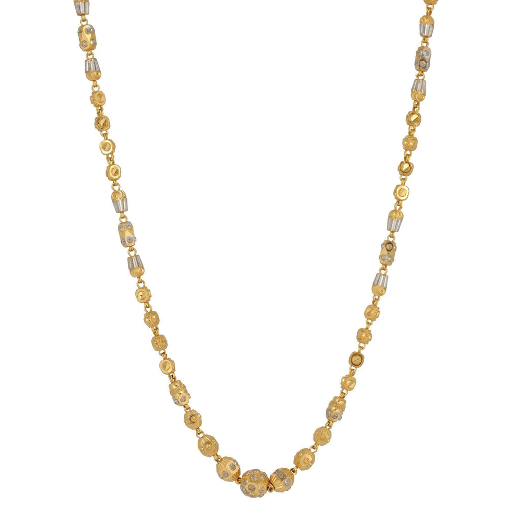22K Two Tone Textured Beaded Gold Chain | 22K Two Tone Textured Beaded Gold Chain for women. Gorgeous gold chain features textured dot patt...