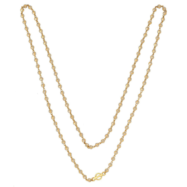 22K Two Tone Gold Beaded Chain W/ Wave Design | 22K Two Tone Gold Beaded Chain W/ Wave Design for women. Beautiful beaded necklace features diamo...
