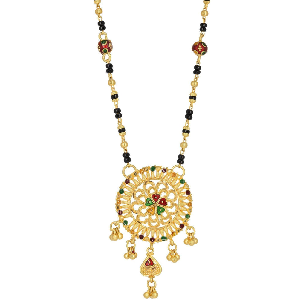 22K Yellow Gold Beaded Medallion Necklace W/ Enamel | 22K Yellow Gold Beaded Medallion Necklace W/ Enamel for women. This beautiful beaded necklace fea...