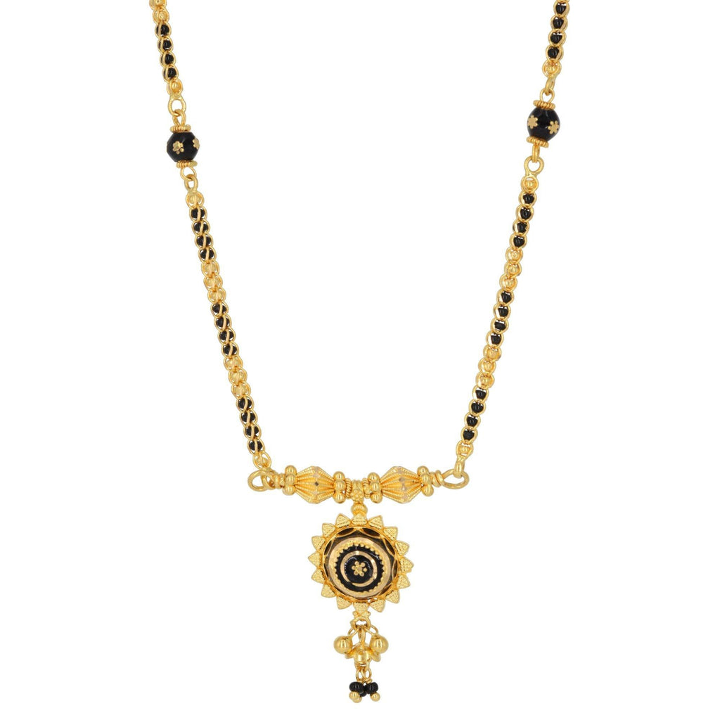 22K Yellow Gold Mangalsutra Necklace W/ Enamel Pendant | 22K Yellow Gold Mangalsutra Necklace W/ Enamel Pendant for Women. The traditional Mangalsutra has...