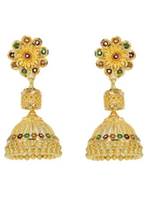 22K Yellow Gold Floral Jhumki Earrings W/ Handpainted Enamel