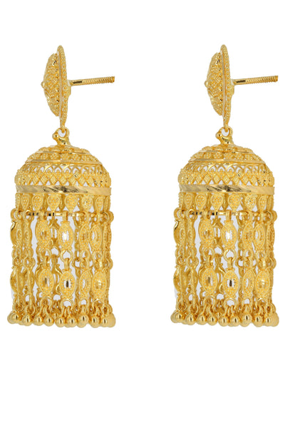 22K Yellow Gold Sun Jhumki Earrings W/ Fringe | 22K Yellow Gold Sun Jhumki Earrings W/ Fringe for women. This traditional gold earrings feature a...