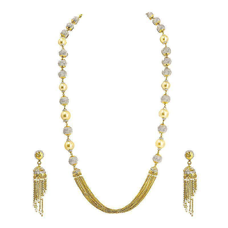 22K Gold Necklace with Pearl and White Gold Bead Accents with Jhumkas | 22K Gold Necklace and Earrings Set with Pearl and White Gold Bead Accents for Women. The total we...