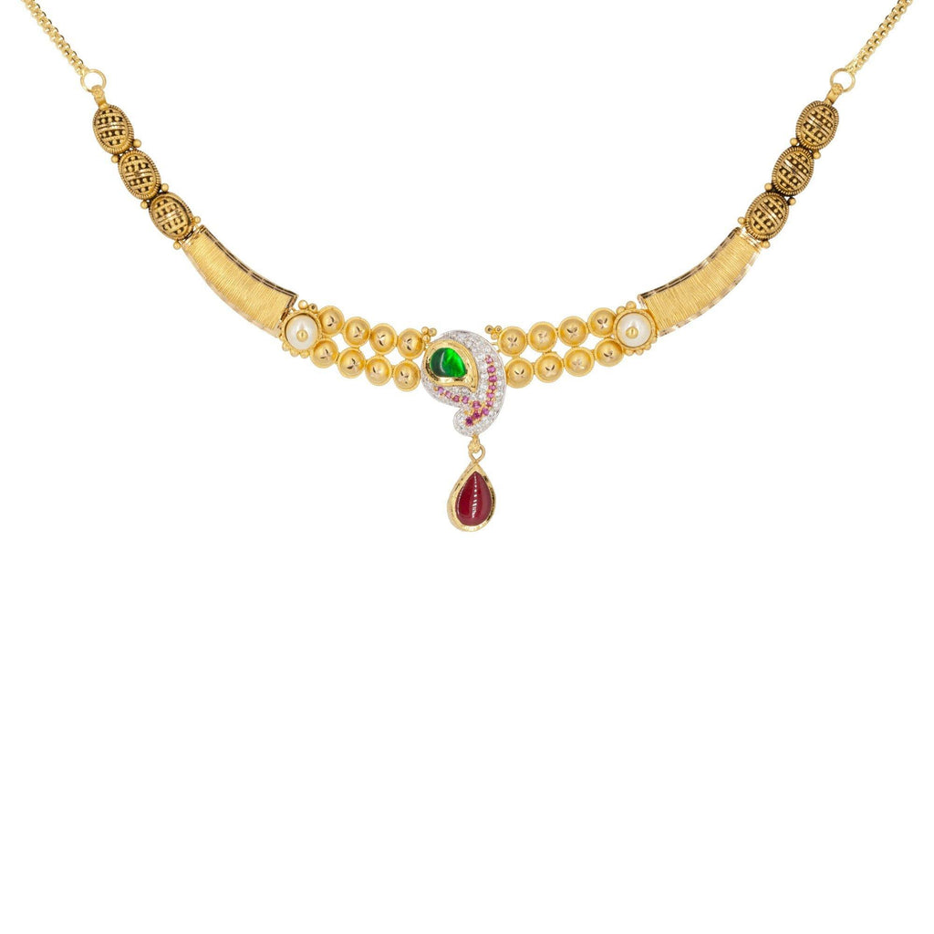 22K Multitone Gold Paisely Pavé Earring & Necklace Set W/ Emerald, Ruby, Pearl & Cubic Zirconia | 22K Multitone Gold Paisley Pavé Earring & Necklace Set W/ Emerald, Ruby, Pearl & Cubic Zi...