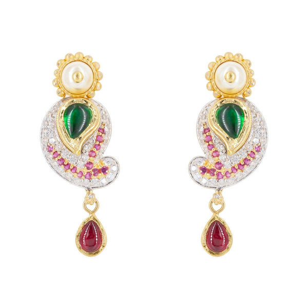 22K Multitone Gold Paisely Pavé Earring & Necklace Set W/ Emerald, Ruby, Pearl & Cubic Zirconia - Virani Jewelers | 22K Multitone Gold Paisley Pavé Earring & Necklace Set W/ Emerald, Ruby, Pearl & Cubic Zi...