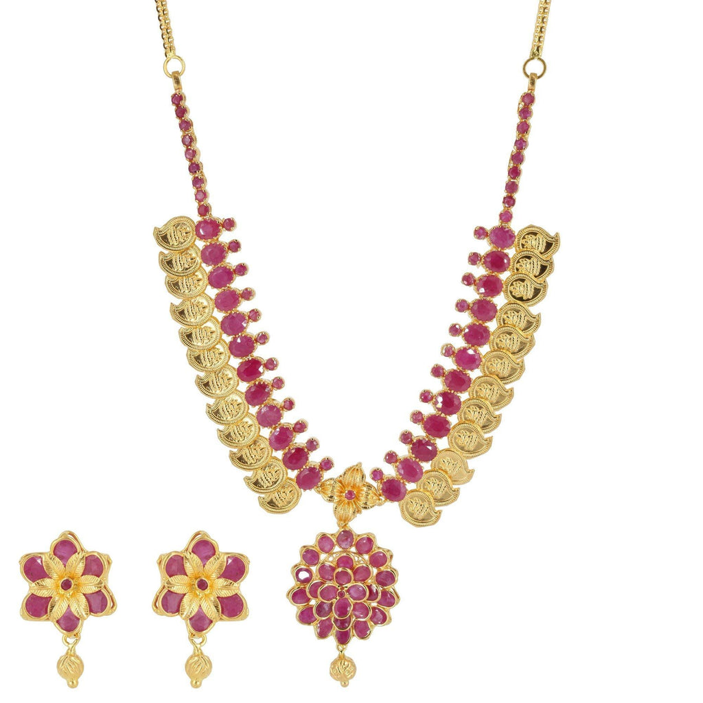 22K Yellow Gold Floral Kasu Lakshmi Coin Necklace & Earrings Set W/ Rubies | 22K Yellow Gold Floral Kasu Lakshmi Coin Necklace & Earrings Set W/ Rubies for women. Beautif...