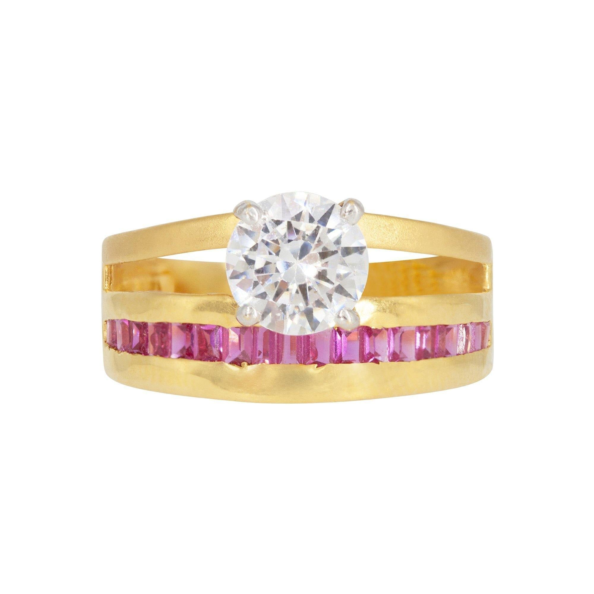 3d7b941741e 22K Yellow Gold Ring W/ Cubic Zirconia Solitaire & Ruby Baguettes ...