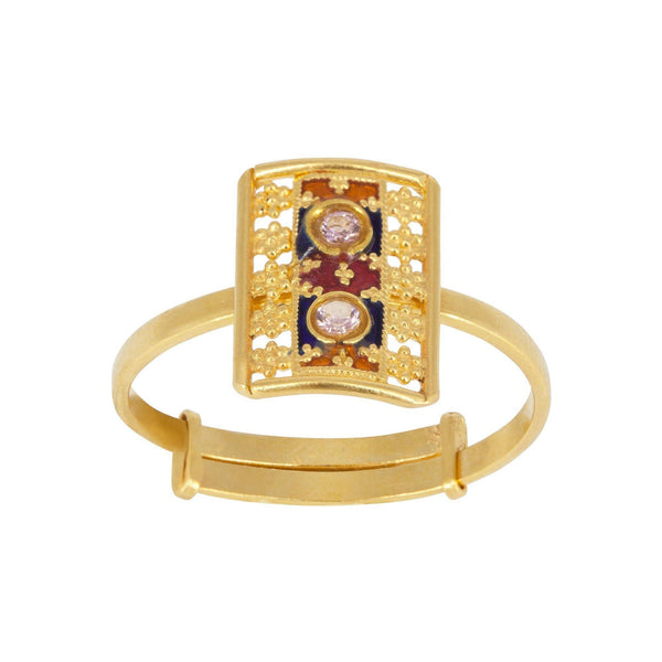 22K Yellow Gold Ring W/ Double Cubic Zirconia & Enamel in Flower Pattern | 22K Yellow Gold Ring W/ Double Cubic Zirconia & Enamel in Flower Pattern for women. Sparkling...