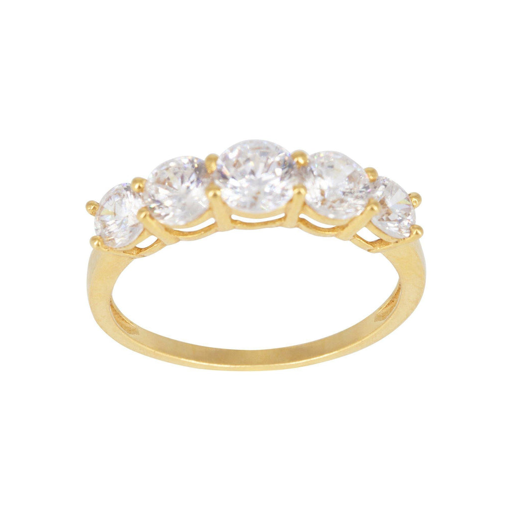 22K Yellow Gold Cubic Zirconia Ring | 22K Yellow Gold Cubic Zirconia Ring for women. Gold ring showcases five stunning prong-set cubic ...