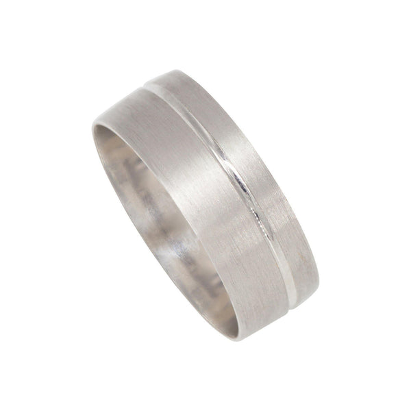 22K White Gold Ring in Brushed Finish W/ Shiny Contrast Stripe for Men | 22K White Gold Ring in Brushed Finish W/ Shiny Contrast Stripe for Men. Gorgeous gold ring would ...