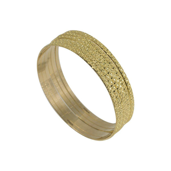 22K Yellow Gold Bangles, Set of 6 W/ Raised Laser Details, Size 2.6 |  22K Yellow Gold Bangles, Set of 6 W/ Raised Laser Details, Size 2.6. Create an elegant stacked l...