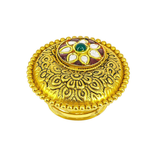 22K yellow antique Gold Ring with ruby and emerald stones in floral detailing | 22K yellow antique Gold Ring with ruby and emerald stones in floral detailing for women. Gold wei...