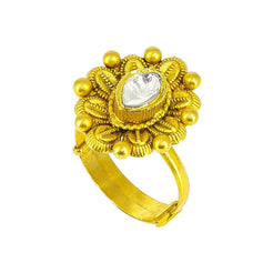 22K yellow Gold floral Ring with cz stone
