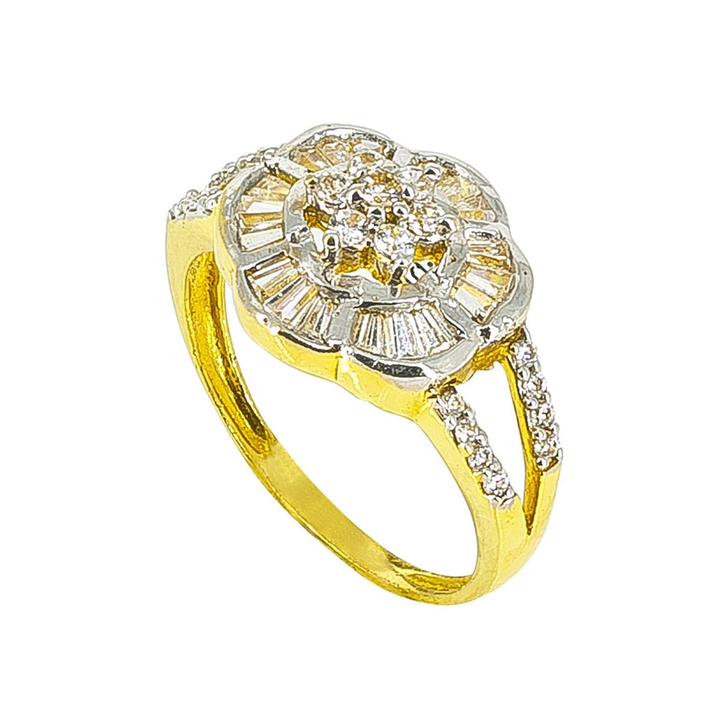 22K Yellow Gold Ring with cz in a floral design | 22K yellow Gold Ring with cz in a floral design for women. Gold weight is 4.7 grams and size is 7...