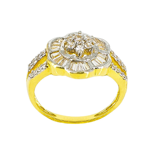 22K Yellow Gold Ring with cz in a floral design - Virani Jewelers | 22K yellow Gold Ring with cz in a floral design for women. Gold weight is 4.7 grams and size is 7...