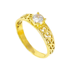 22K Yellow Gold Ring W/ Filigree & Cubic Zirconia