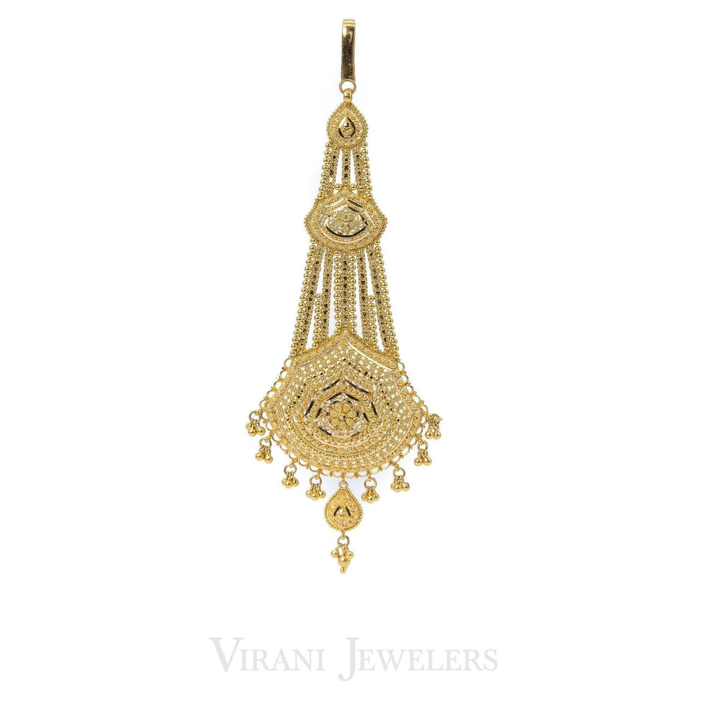22K Yellow Gold Tikka with Drop Chandelier Pendant and Ball Accents | 22K Yellow Gold Tikka with Drop Chandelier Pendant and Ball Accents for women. This unique hair a...