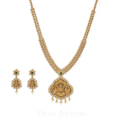 Temple 34.92CT Uncut Diamond Laxmi Necklace and Earrings Set W/ Centered Emerald Gem