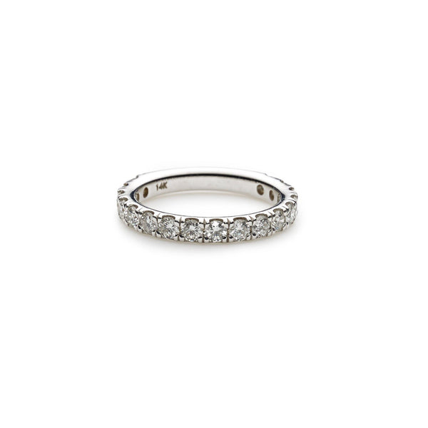 An image showing the diamonds in a 14K white gold wedding ring from Virani Jewelers. | Surprise your love with a beautiful white gold diamond wedding ring from Virani Jewelers.  Diamon...