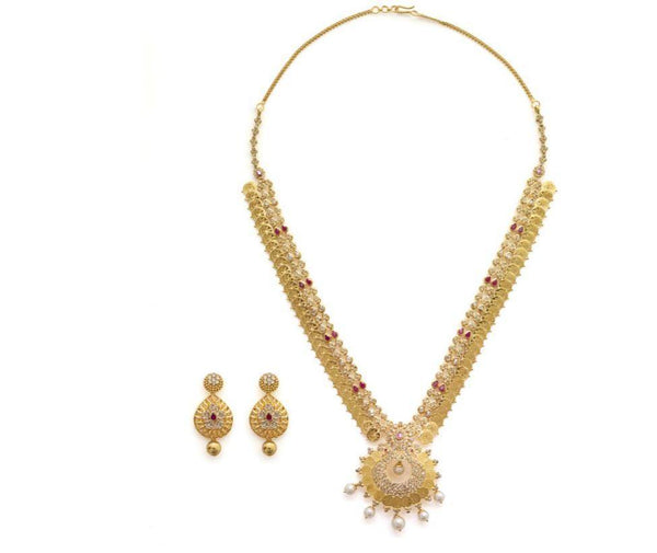 22K Yellow Gold Uncut Diamond Set W/ 16.04ct SI Uncut Diamonds, Rubies, Pearls & Laxmi Kasu | Statement looks begin with the finest statement jewelry, much like this most exquisite 22K yellow...