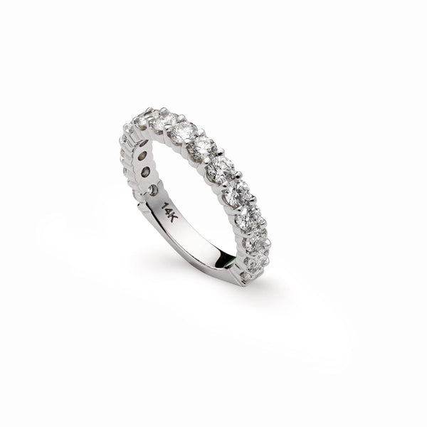 "An image of a 14K white gold wedding ring from Virani Jewelers on its side. | Say ""I do"" to a white gold diamond wedding ring from Virani Jewelers!    Featuring GIA Certified ..."