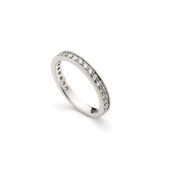 An image of the side of a 14K white gold wedding ring from Virani Jewelers | Give your loved one a gift that is beautiful and timeless with a 14K white gold wedding ring from...