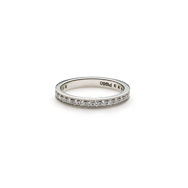 An image of a Virani Jewelers 14K white gold wedding ring laying flat. | Give your loved one a gift that is beautiful and timeless with a 14K white gold wedding ring from...