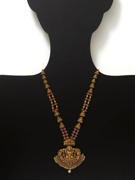 22K Yellow Gold Antique Temple Necklace W/ Rubies, Pearls & Laxmi Pendant | Let the luxury of tradition exude through this stunning 22K Yellow Gold Antique Temple Necklace f...