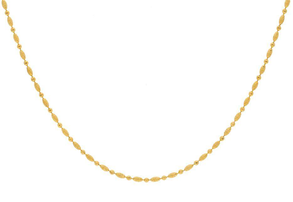 22K Yellow Gold Necklace W/ Faceted Ball & Oblong Beads |    Elegance with a touch of class with this 22K yellow gold necklace decorated with gold faceted ...