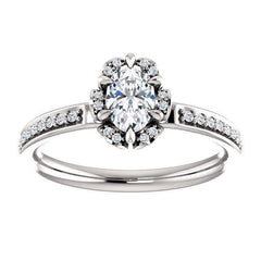 Cushion Diamond Halo Pave Engagement Ring