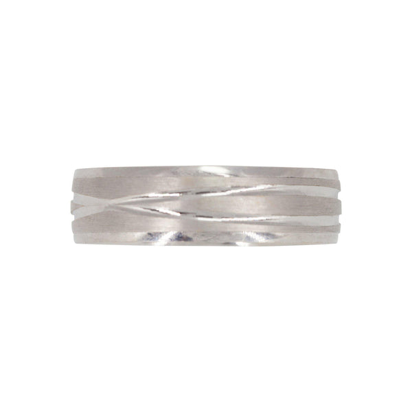 22K White Gold Ring Band W/ Criss Cross Contrast Finish for Men | 22K White Gold Ring Band W/ Criss Cross Contrast Finish for Men. Gorgeous gold ring has a matte f...