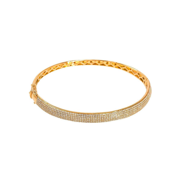 14K Gold Diamond Openable Bangle | Bangle Diameter 2.6 In. Bangle Width 3 mm.