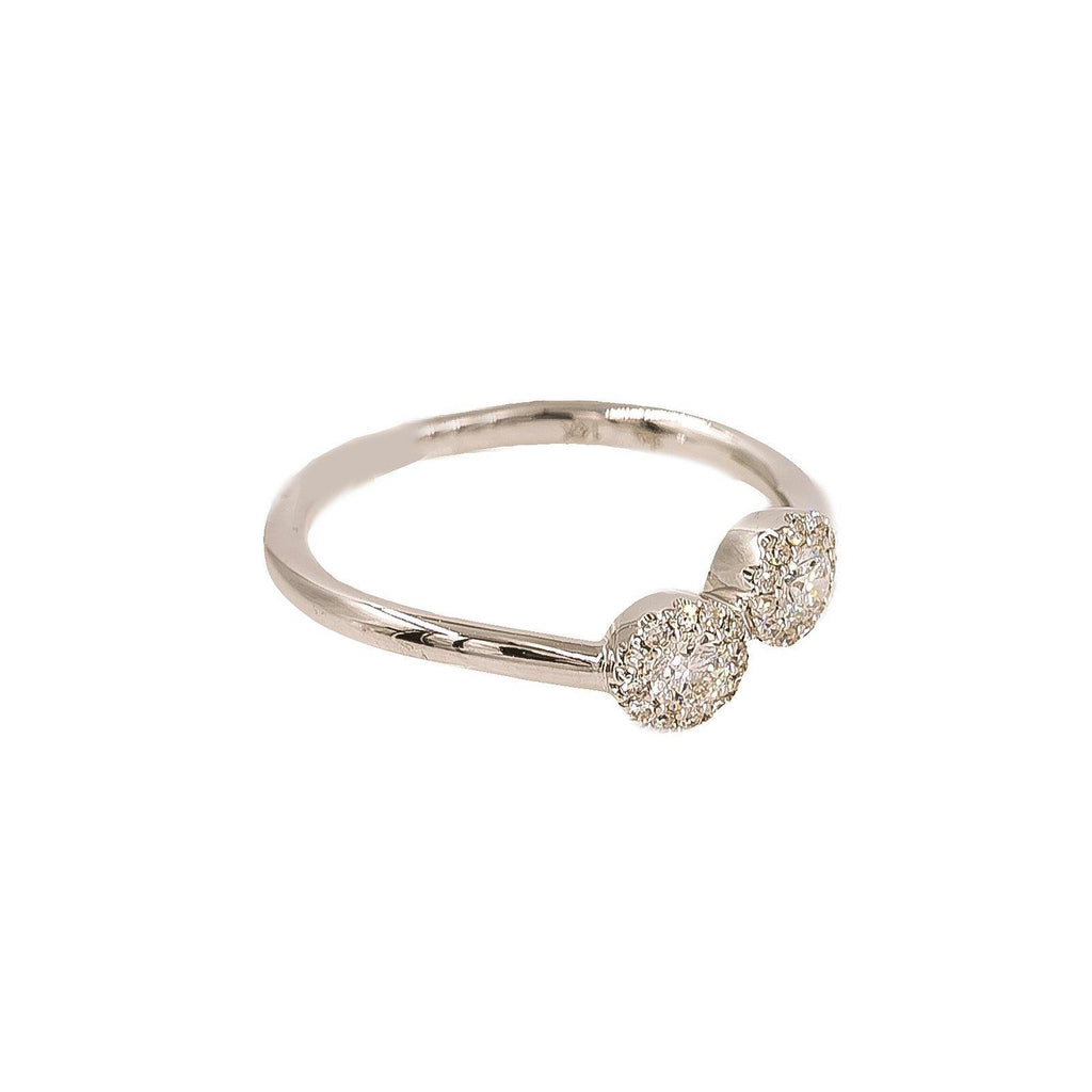 14K Gold Diamond Ring | Ring Size 4 Minimum Width of the Band 1 mm. Maximum Width of the band 4 mm.