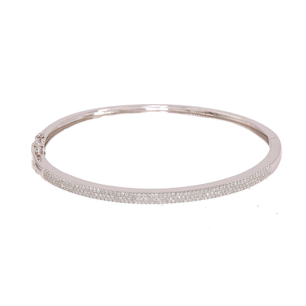 14K White Gold Diamond Bangle W/ 0.52ct VS Diamonds & Bright Polished Solid Band | 14K White Gold Diamond Bangle W/ 0.52ct VS Diamonds & Bright Polished Solid Band for women. T...