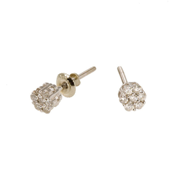 14K White Gold Diamond Stud Earrings W/ 0.25ct SI Diamonds & Cluster Flower | 14K White Gold Diamond Stud Earrings W/ 0.25ct SI Diamonds & Cluster Flower for women. This p...
