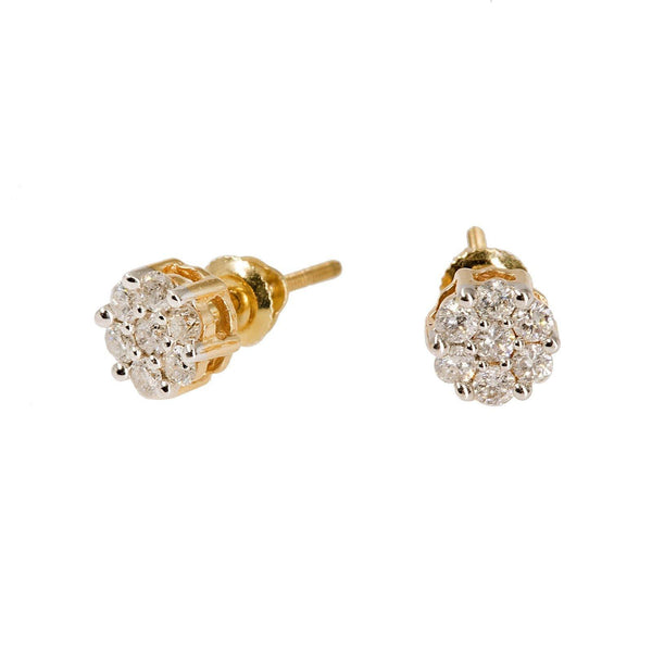14K Yellow Gold Diamond Stud Earrings W/ 0.5ct SI Diamonds & Cluster Flower - Virani Jewelers |  14K Yellow Gold Diamond Stud Earrings W/ 0.5ct SI Diamonds & Cluster Flower for women. This ...