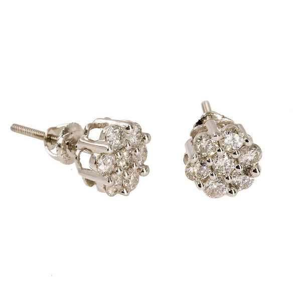 14K White Gold Diamond Stud Earrings W/ 1.0ct SI Diamonds & Cluster Flower |  14K White Gold Diamond Stud Earrings W/ 1.0ct SI Diamonds & Cluster Flower for women. This p...
