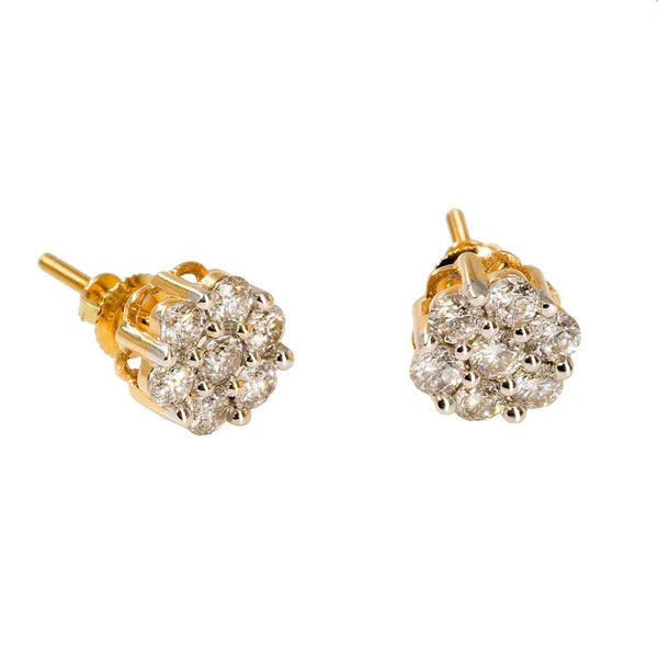 14K Yellow Gold Diamond Stud Earrings W/ 1.0ct SI Diamonds & Cluster Flower - Virani Jewelers |  14K Yellow Gold Diamond Stud Earrings W/ 1.0ct SI Diamonds & Cluster Flower for women. This ...