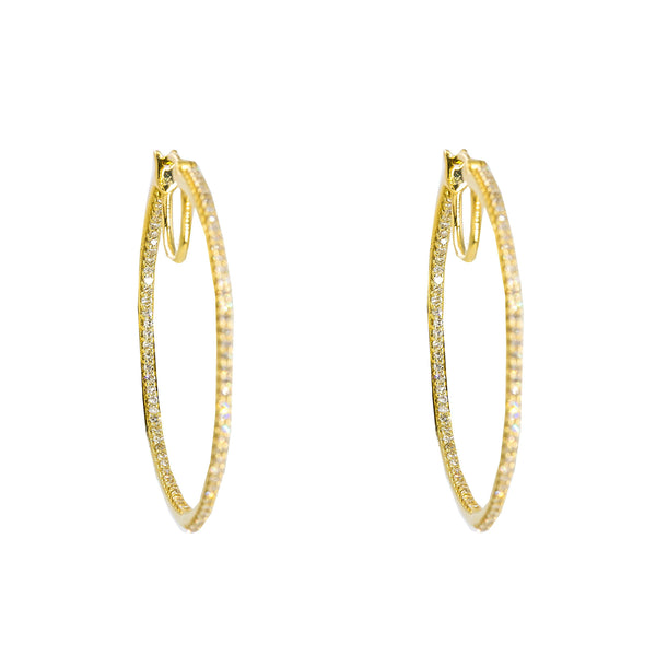 14K Yellow Gold Diamond Hoop Earrings W/ 0.50ct SI Diamonds |  14K Yellow Gold Diamond Hoop Earrings W/ 0.50ct SI Diamonds for women. These stunning hoop earri...