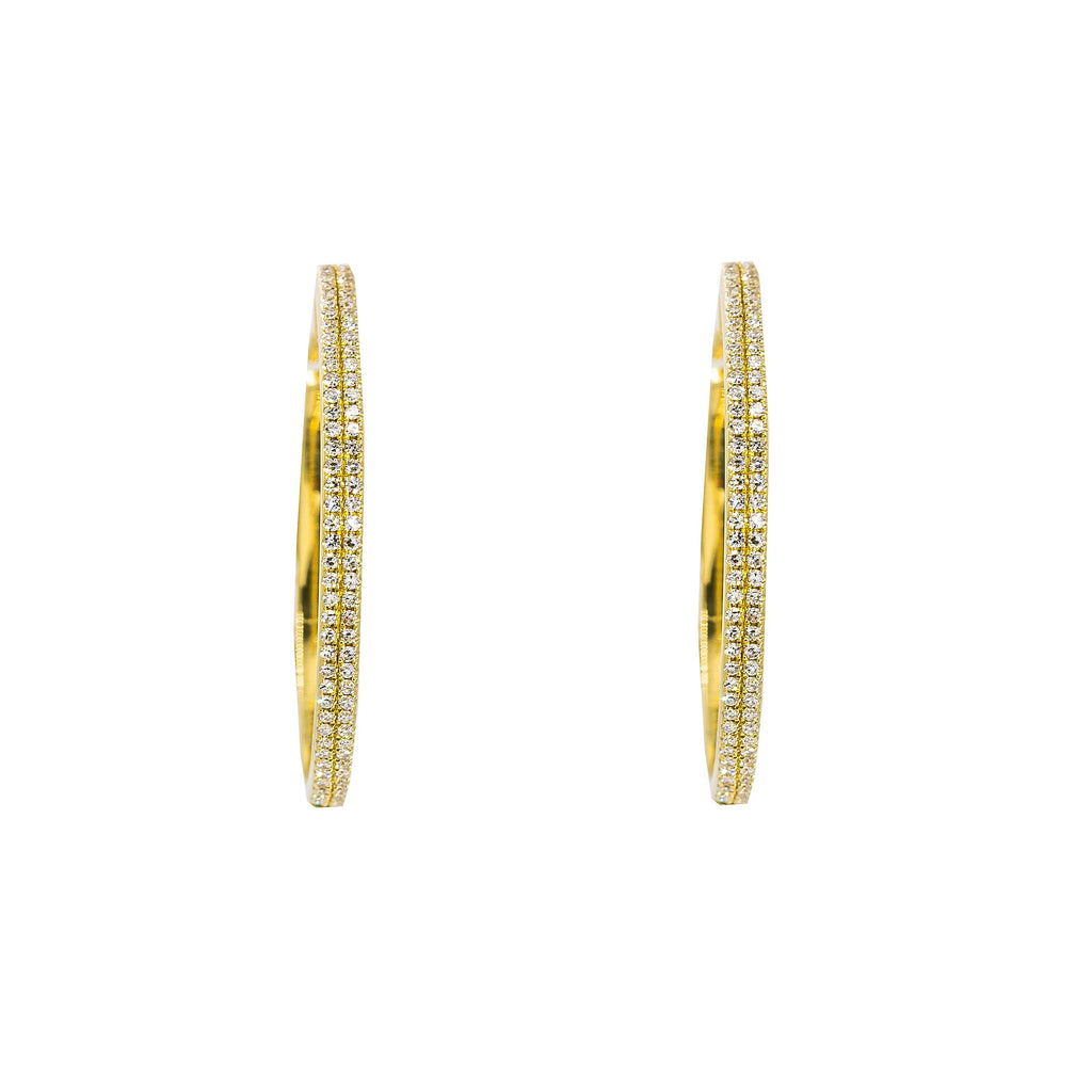 14K Yellow Gold Diamond Hoop Earrings W/ 0.3ct VS-SI Diamonds in Double Row |  14K Yellow Gold Diamond Hoop Earrings W/ 0.3ct VS-SI Diamonds in Double Row for women. These stu...