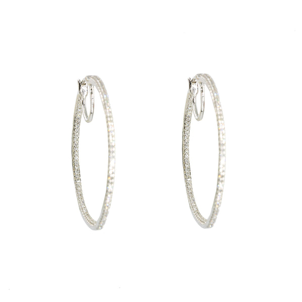 14K White Gold Diamond Hoop Earrings W/ 0.50ct VS-SI Diamonds |  14K White Gold Diamond Hoop Earrings W/ 0.50ct VS-SI Diamonds for women. These stunning hoop ear...