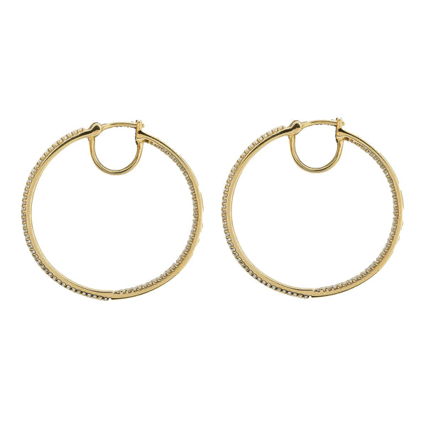 0.5CT Diamond Hoop Earrings Set In 14K Yellow Gold | 0.5CT Diamond Hoop Earrings Set In 14K Yellow Gold for women. Classic hoop earrings set with diam...