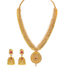 22K Yellow Gold Diamond Temple Necklace & Jhumki Drop Earrings Set W/ 11.06ct Uncut Diamonds, Rubies, Pearls & Laxmi Kasu on Pendant Necklace