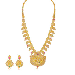 22K Yellow Gold Diamond Temple Necklace & Earrings Set W/ 17.53ct Uncut Diamonds, Rubies, Emeralds & Mango Details